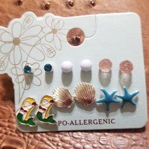 CAROLE inc Mermaid, shells, starfish earrings